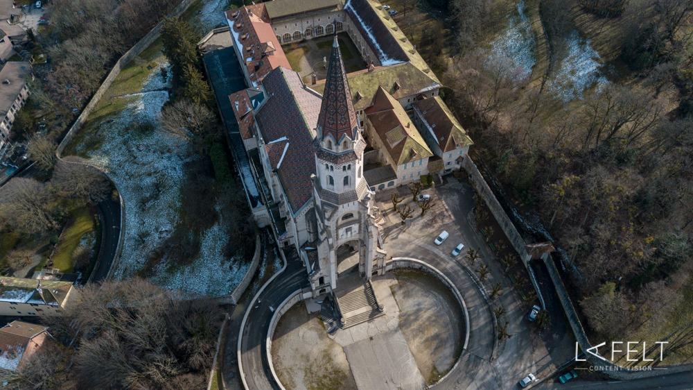 basilique de la visitation à annecy vue aérienne par drone lafelt